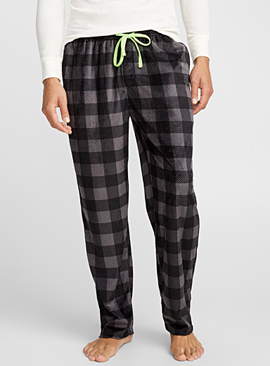 Plaid velvet lounge pant