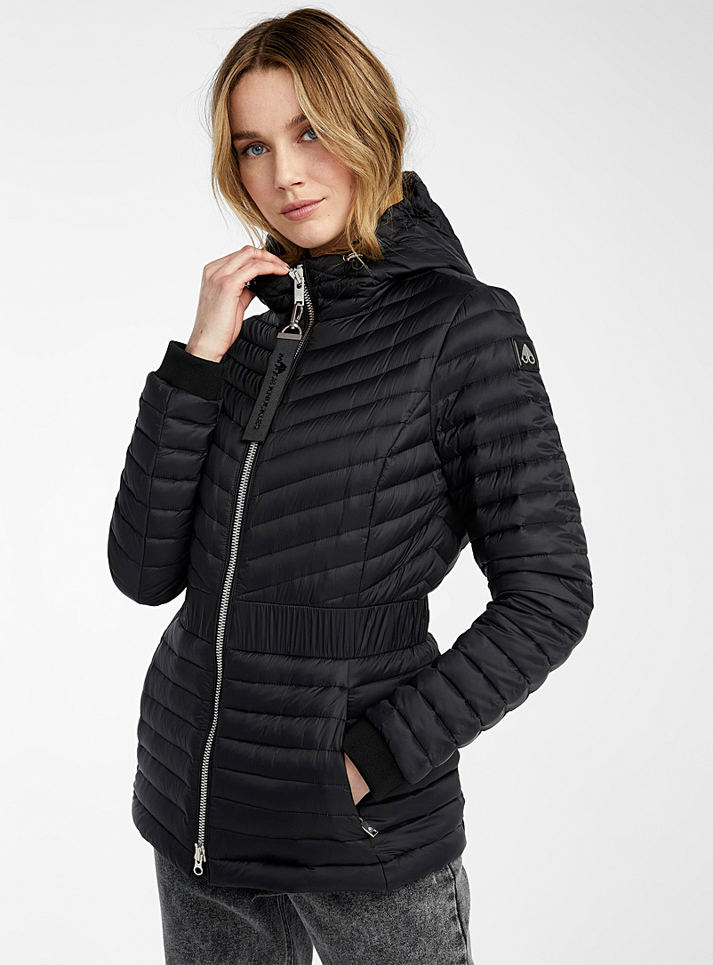 Moose Knuckles Black Vanilla Sky fitted puffer jacket for women