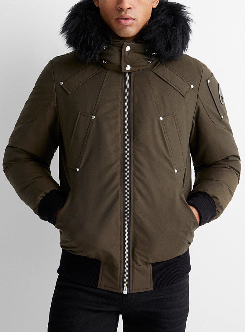 Moose Knuckles Khaki Ballistic shearling-hood aviator bomber jacket for men