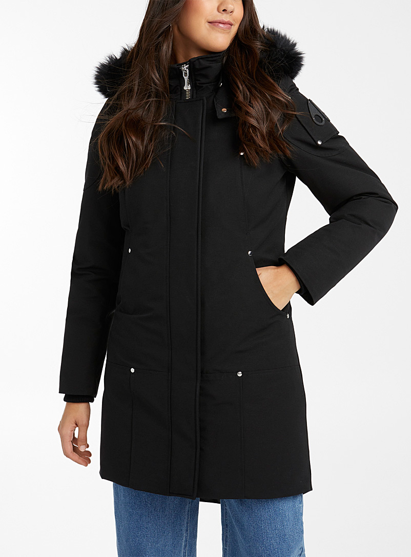 Moose Knuckles: Le parka Stirling bordure shearling Noir pour femme