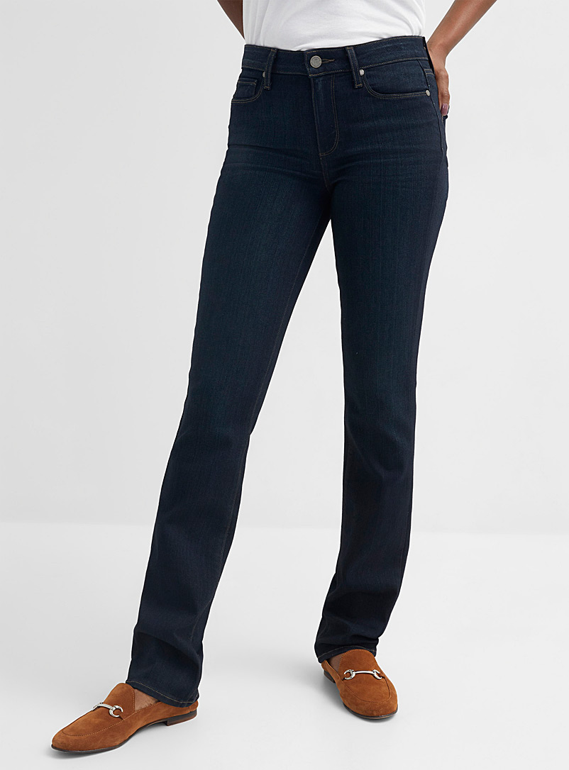 Paige Marine Blue Dark indigo Hoxton straight jean for women