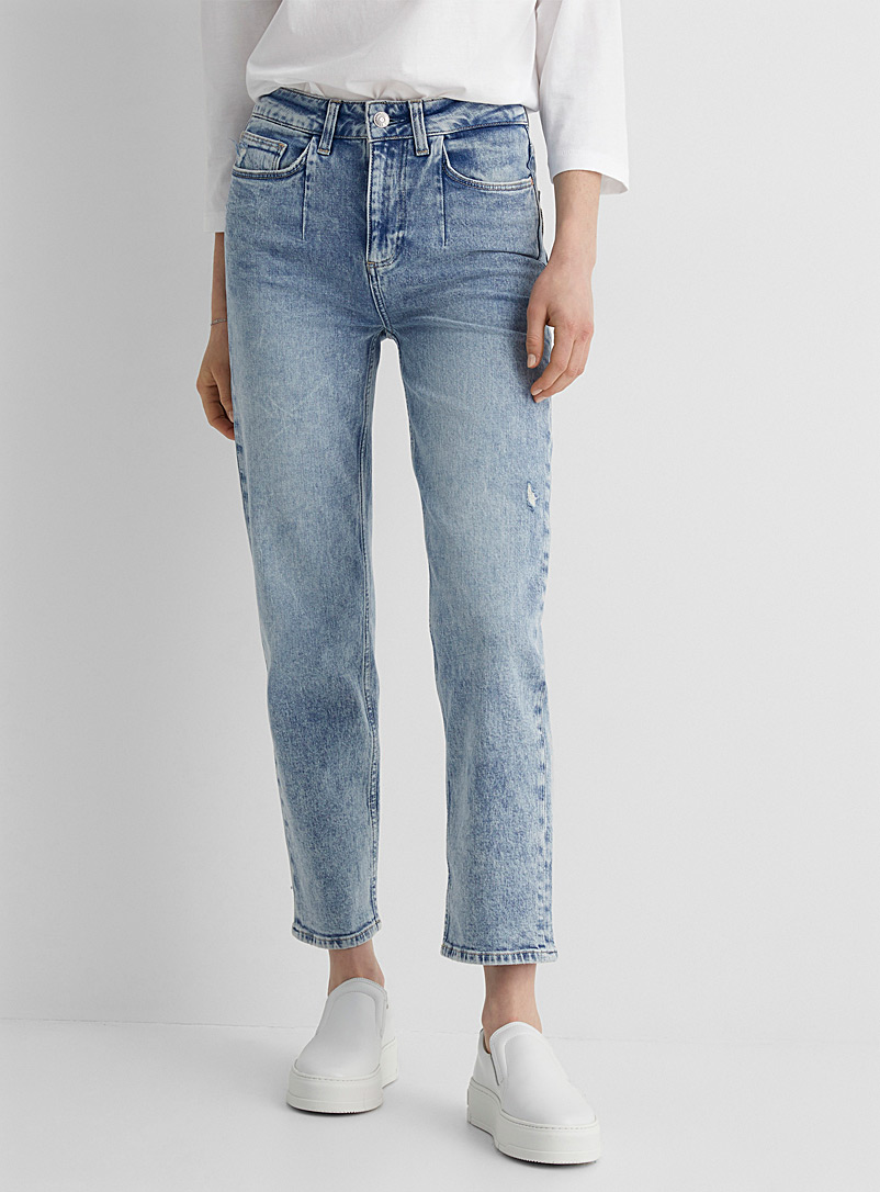 Paige Slate Blue Faded vintage Sarah straight jean for women