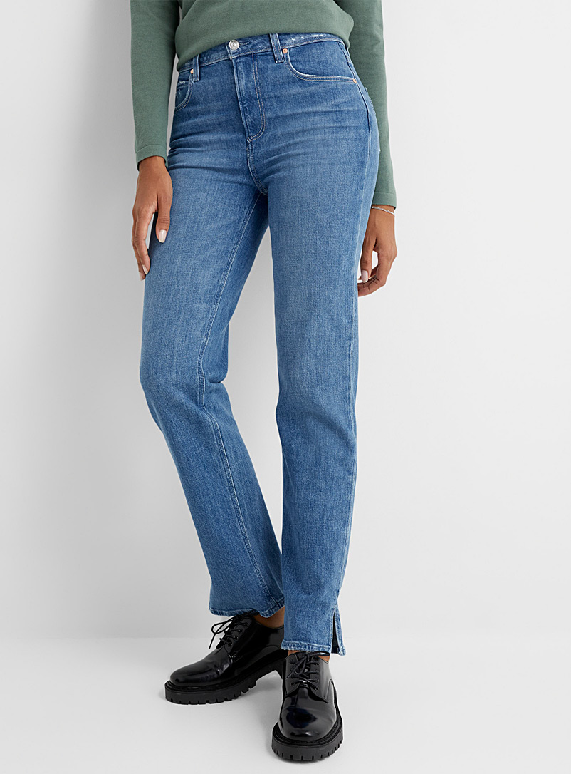 Paige Blue Distressed pocket Sarah straight jean for women