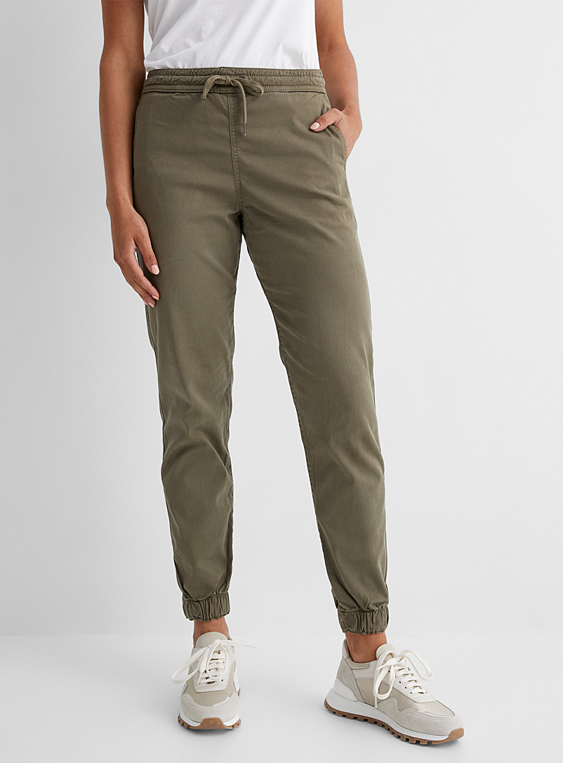 DU/ER Lime Green Stretch chino joggers for women