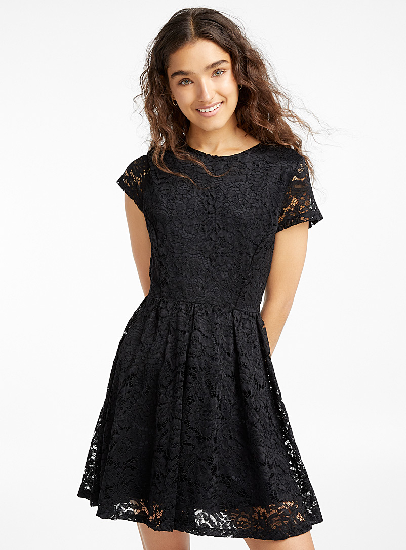Floral lace dress - Fit & Flare - Black