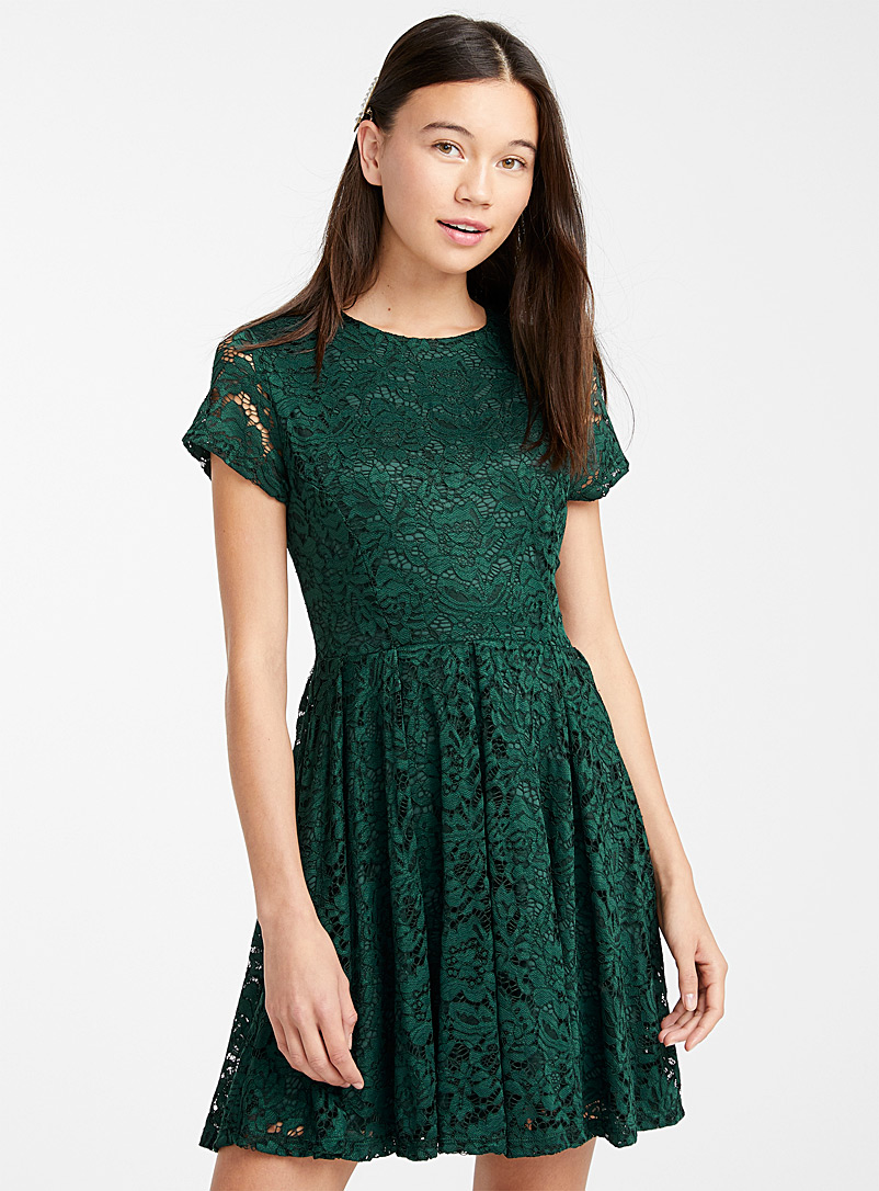 Floral lace dress - Fit & Flare - Green