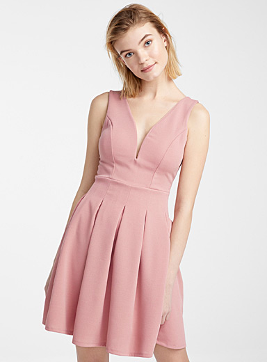 Accent-pleated dress