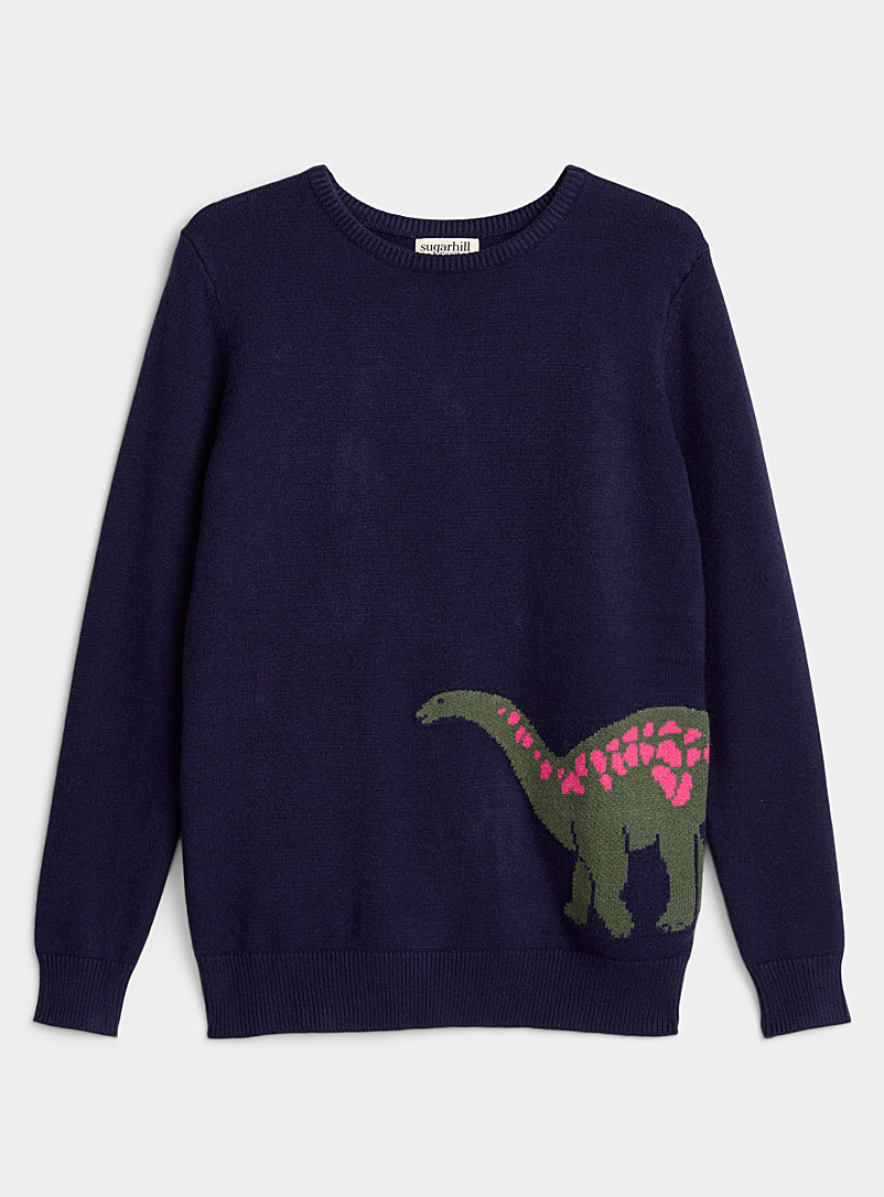 Sugarhill Marine Blue Long-necked dinosaur sweatshirt for women