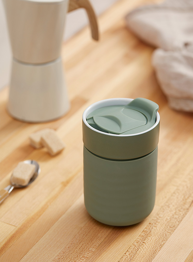 Ladelle Lime Green Stoneware and silicone travel mug