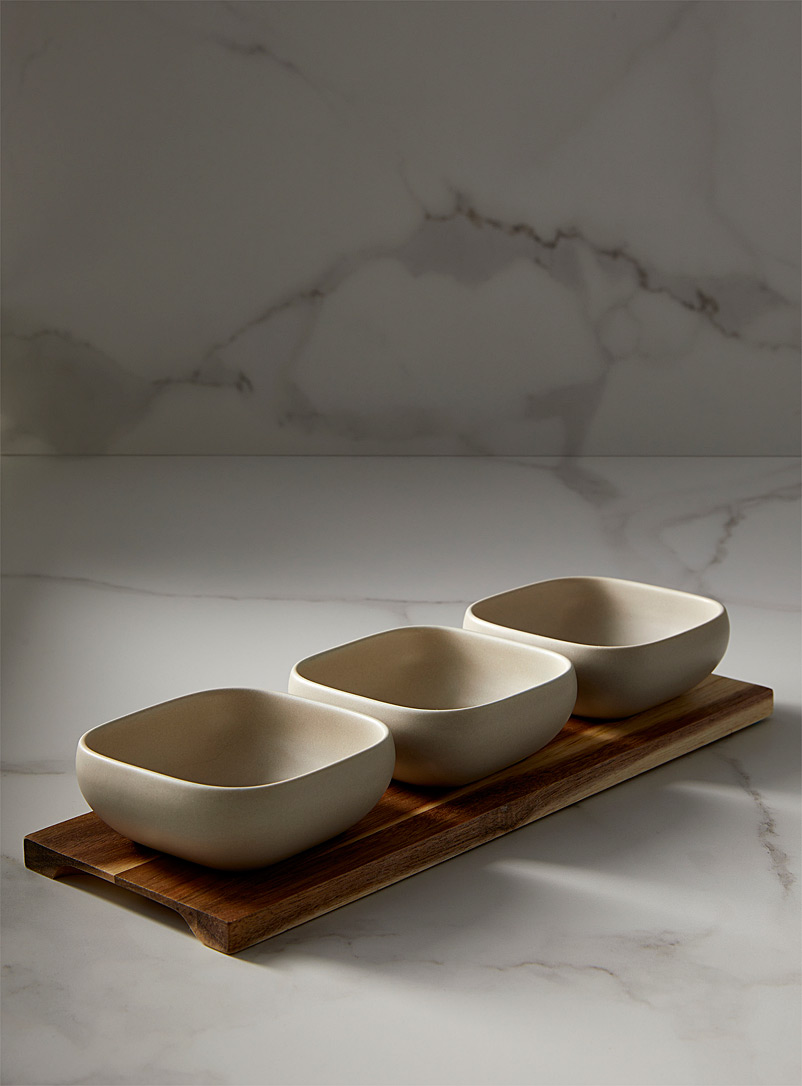 Ladelle Ecru/Linen Porcelain and acacia wood serving tray 4-piece set