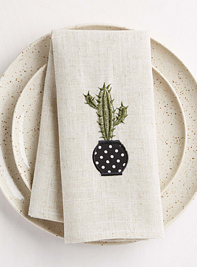 Embroidered cactus napkin
