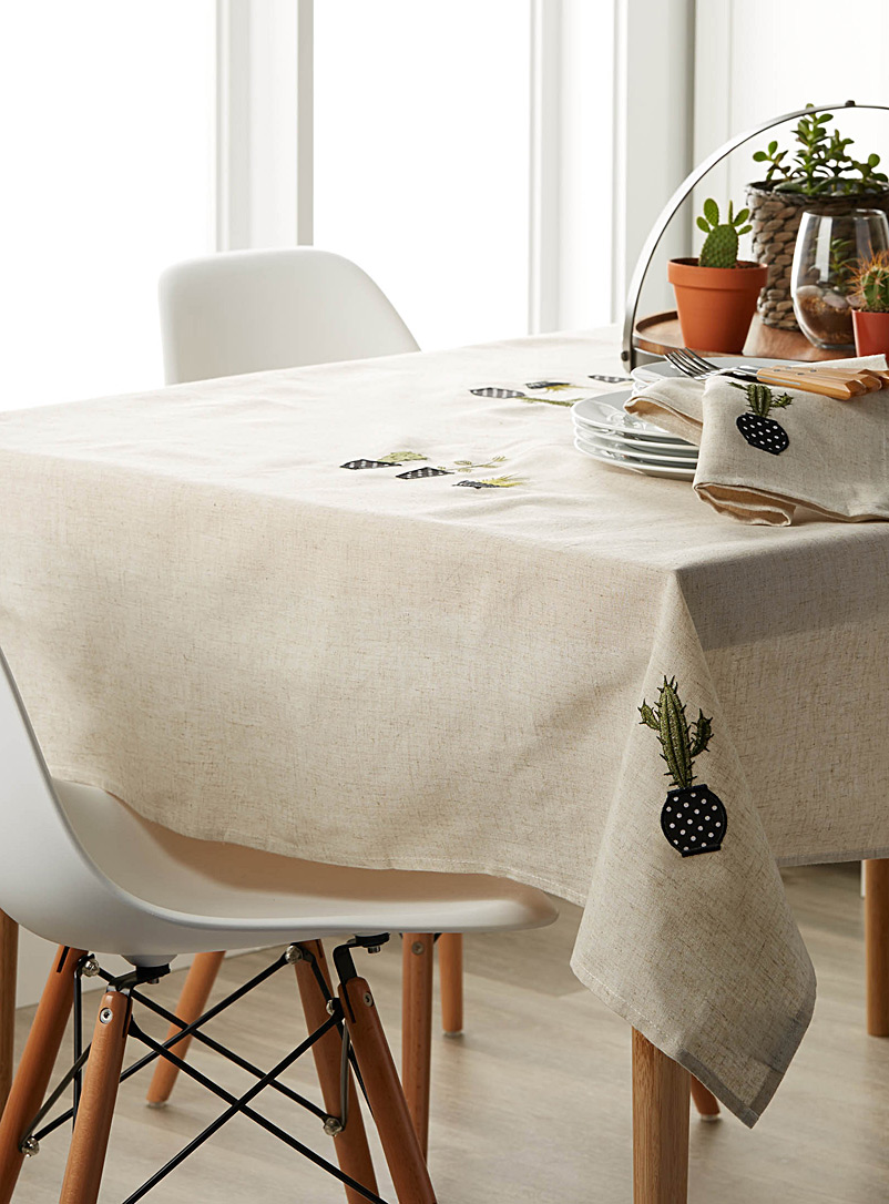 Embroidered cactus tablecloth - Embroidered - Ecru/Linen