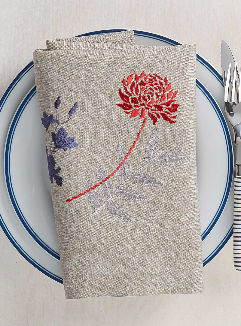 Japanese embroidered floral napkin - Fabric - Assorted