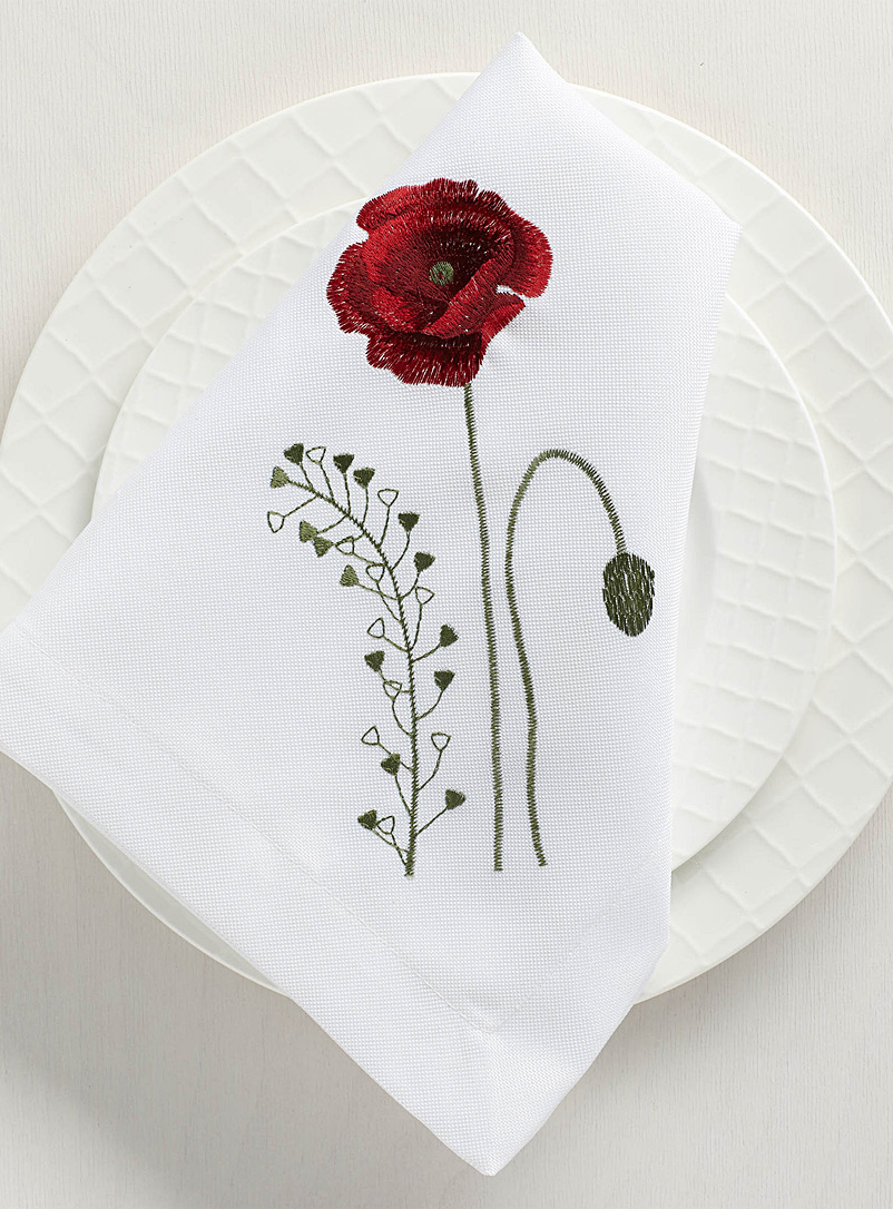 Simons Maison Patterned White Field of flowers napkin