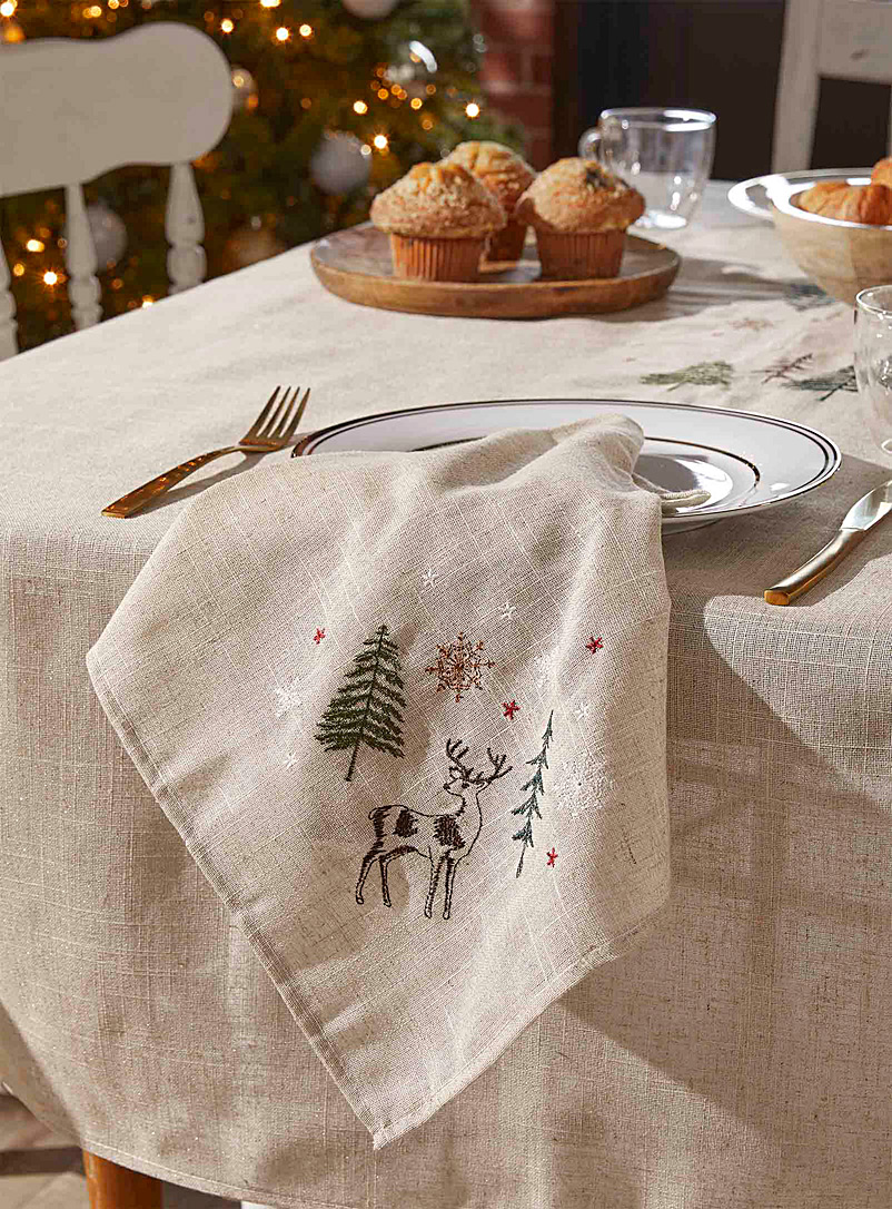 Simons Maison Patterned Ecru Embroidered majestic reindeer napkin