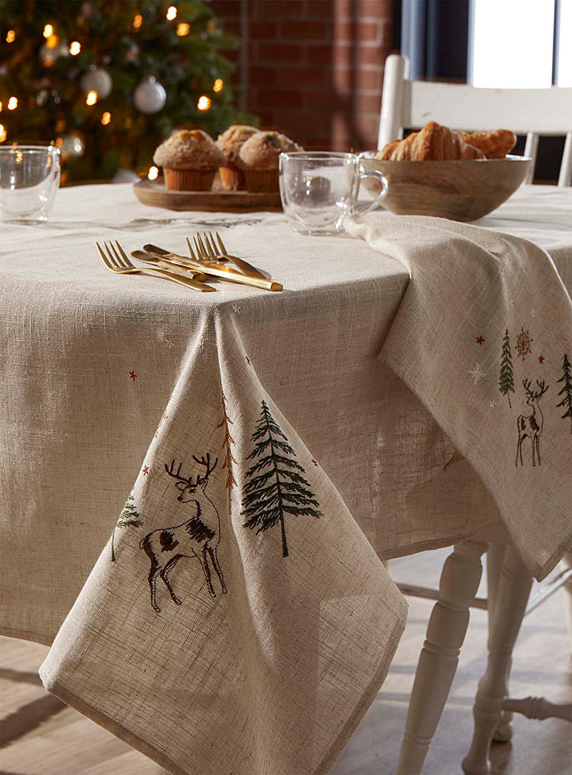 Simons Maison Patterned Ecru Embroidered majestic reindeer tablecloth