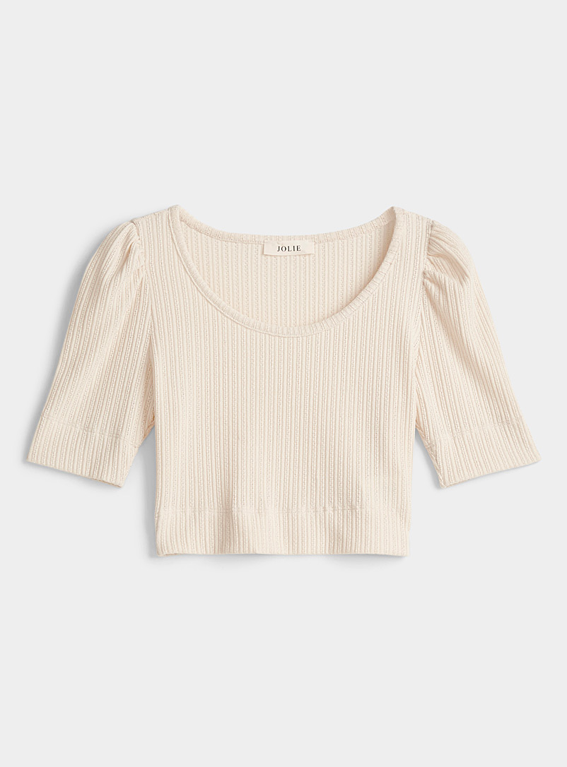 Twik Cream Beige Openwork pointelle knit tee for women