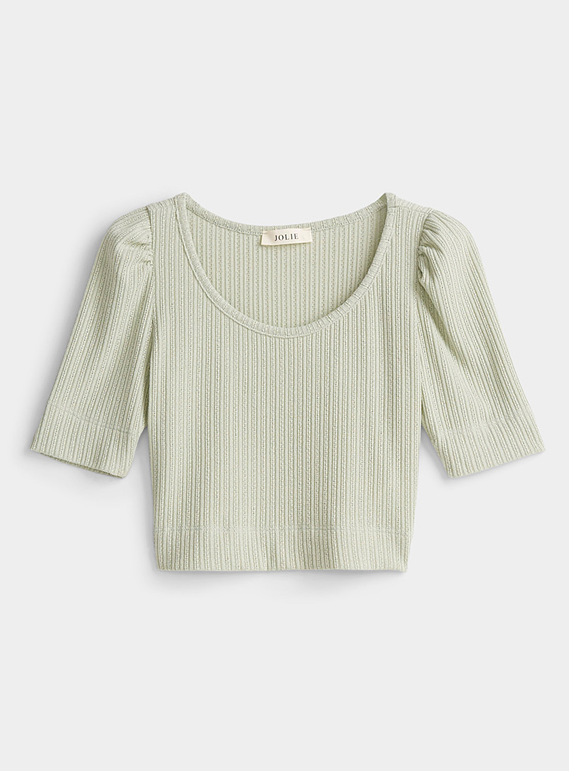 Twik Green Openwork pointelle knit tee for women