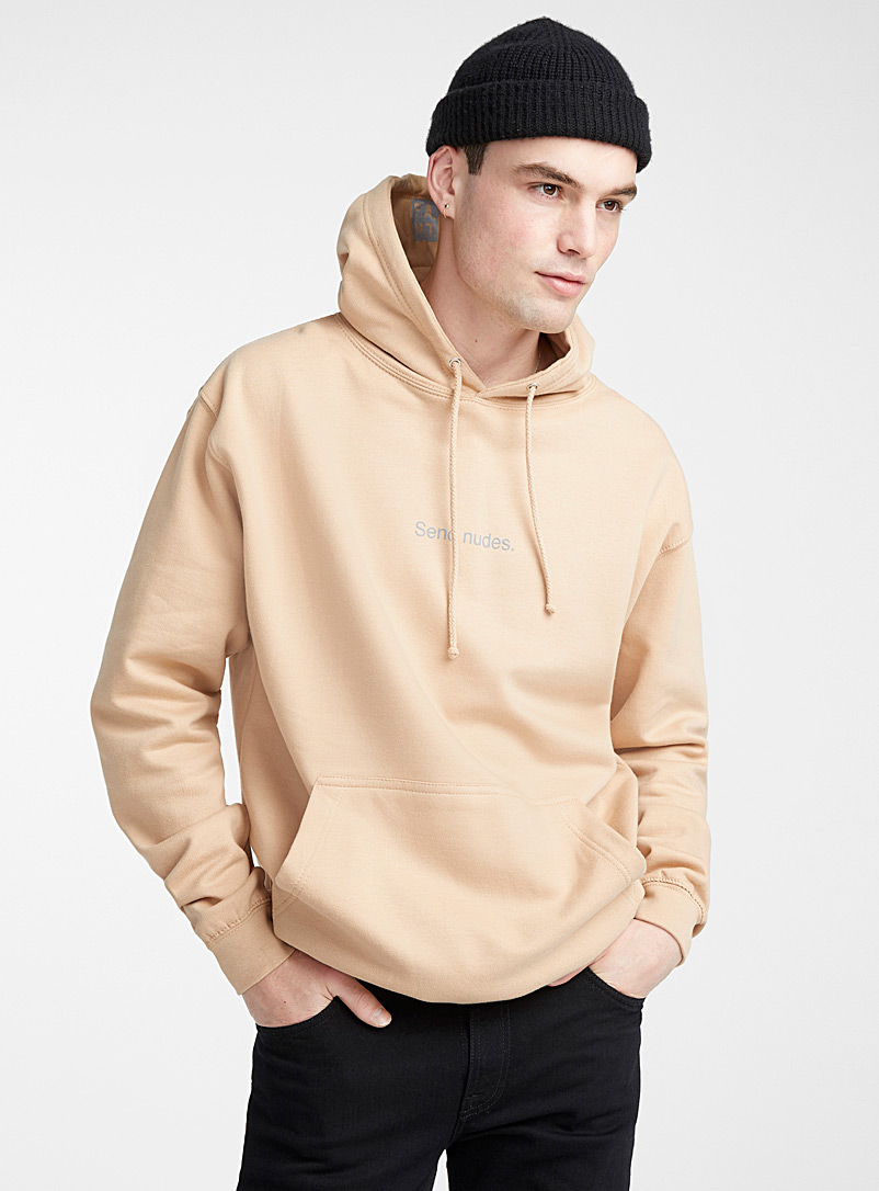 F.A.M.T. Cream Beige F.A.M.T. lettering hoodie for men