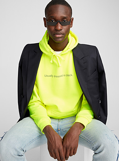 F.A.M.T. Golden Yellow Neon message hoodie for men