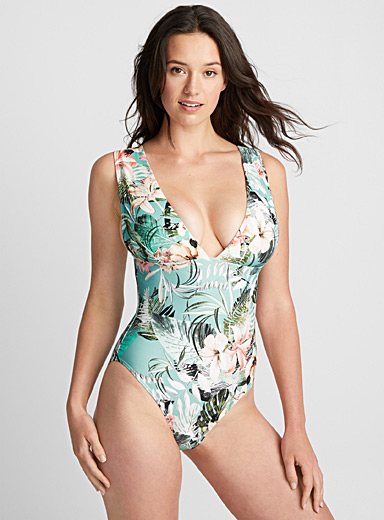 Tropical shade scoop one-piece