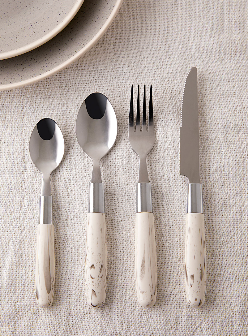 Marble-like utensils  16-piece set - Dinnerware & Utensils - White