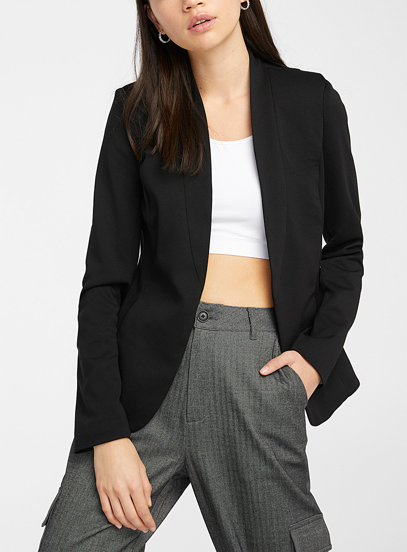 Collarless jersey blazer - Blazers - Black