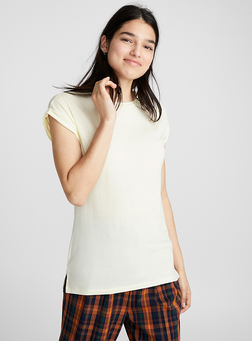 Le t-shirt col rond modal - Bases - Ivoire blanc os
