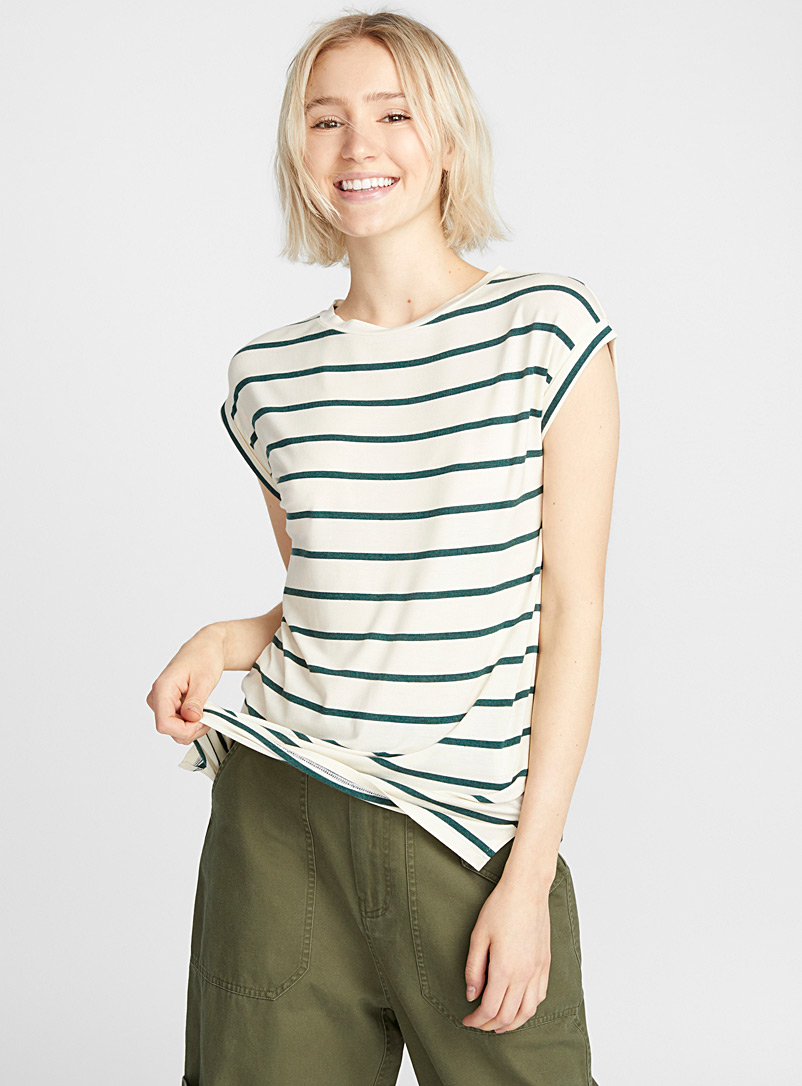 Striped modal tee - Basic - Ivory White