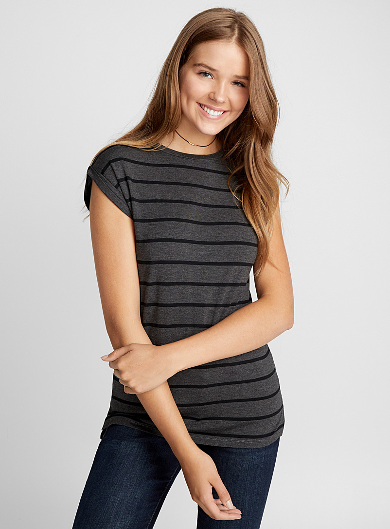 Striped modal tee - Short Sleeves & ¾ Sleeves - Charcoal