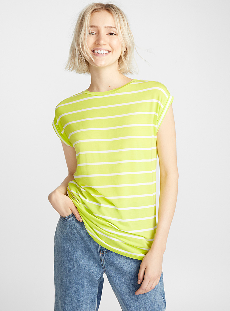 Striped modal tee - Basic - Lime Green