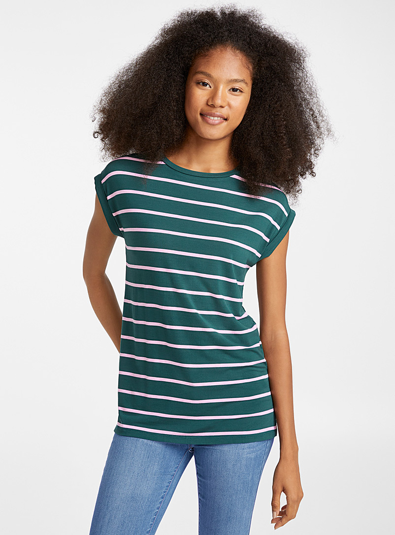 Striped modal tee - Basic - Khaki