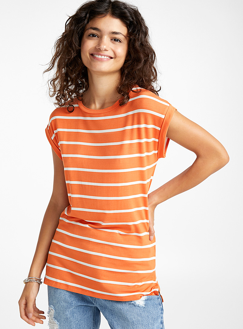 Striped modal tee - Basic - Orange