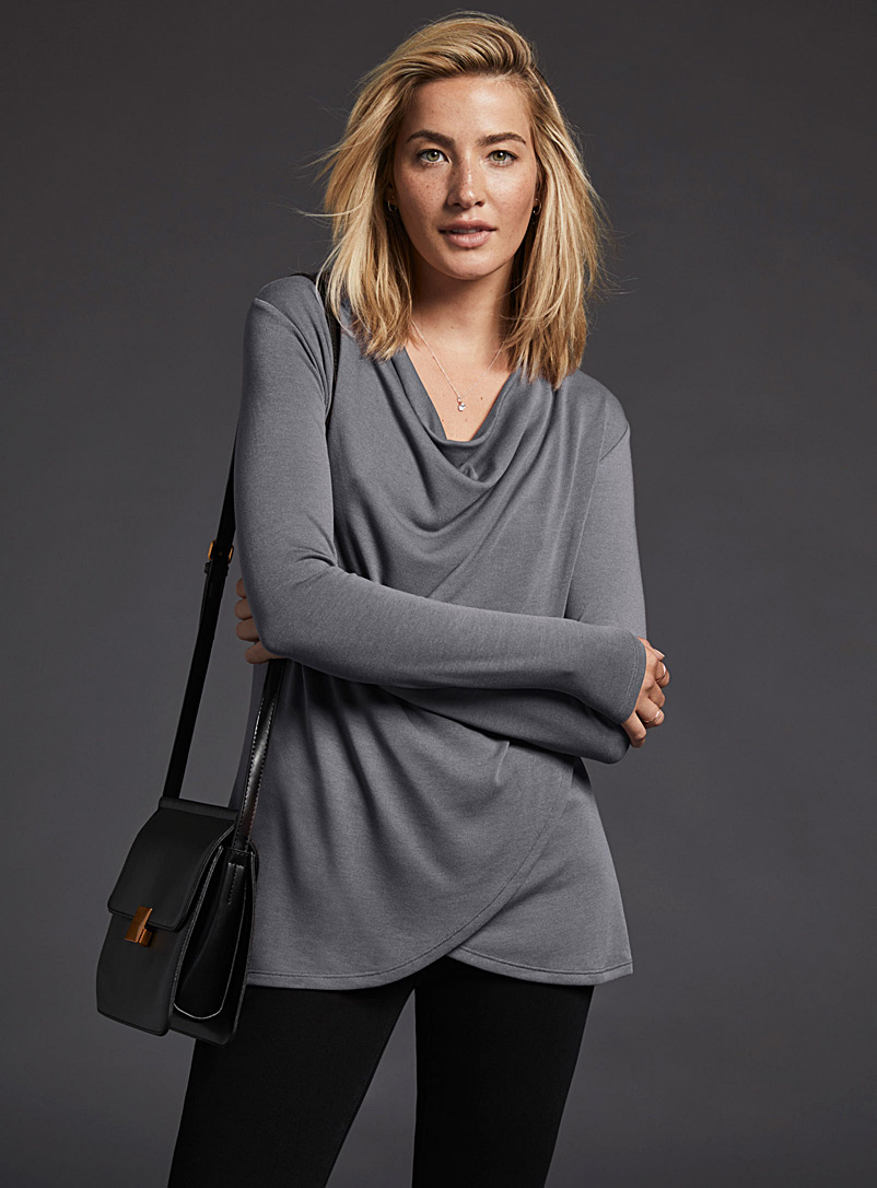 Draped-neck tunic - Long Sleeves - Dark Grey