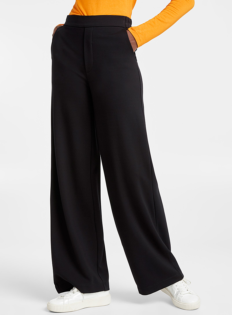 Icône Black Structured jersey wide-leg pant for women