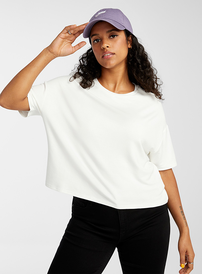 Twik White Boxy tee for women