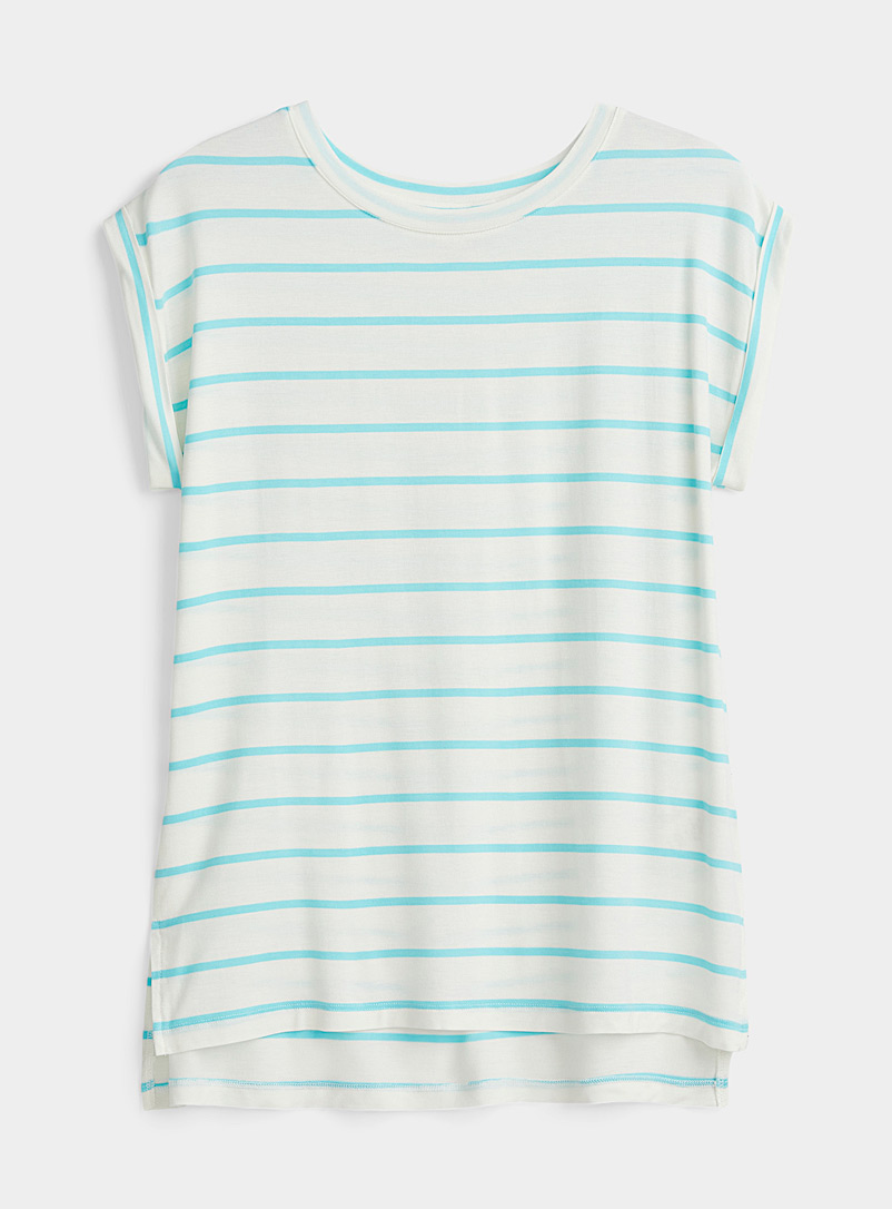 Twik White Rolled sleeve striped tee for women