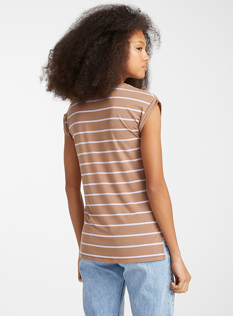 Twik Brown Rolled sleeve striped tee for women