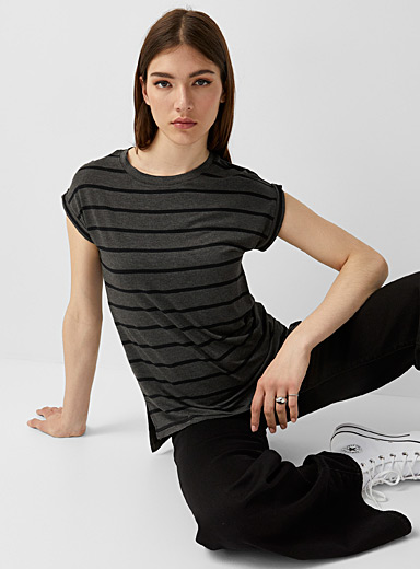 Rolled sleeve striped tee