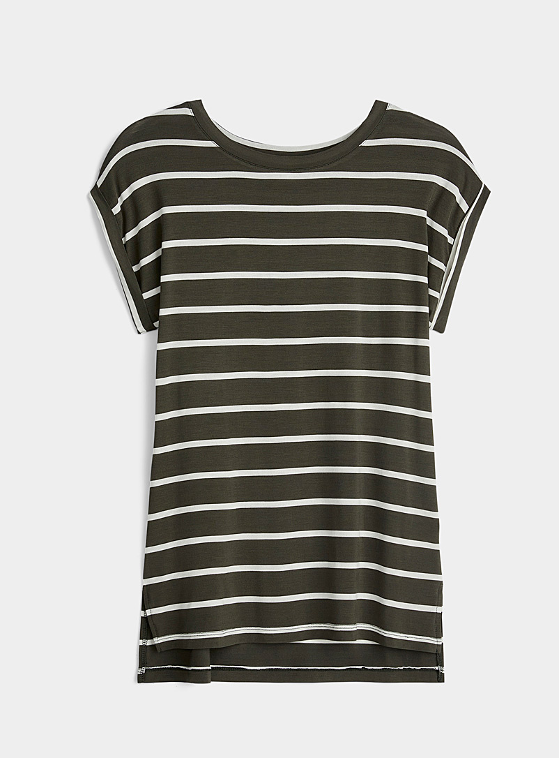 Twik Khaki Rolled sleeve striped tee for women