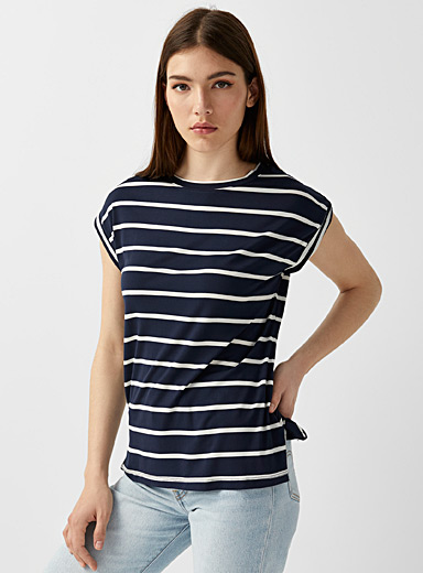 Twik Marine Blue Rolled sleeve striped tee for women