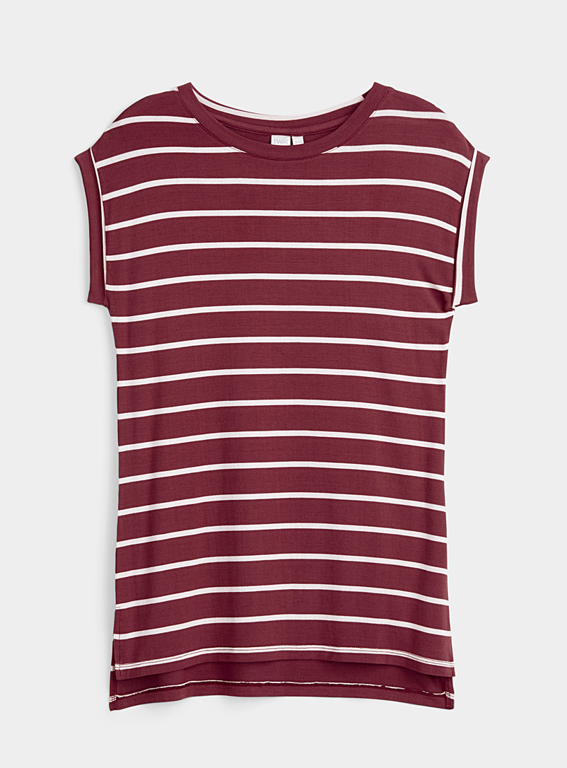 Twik Charcoal Rolled sleeve striped tee for women