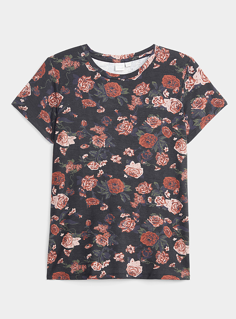 Twik Black Modal blend printed crew-neck tee for women