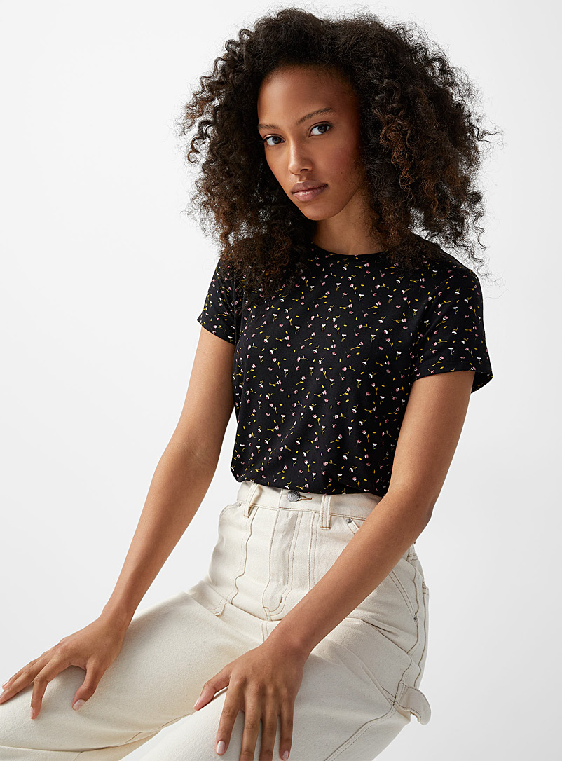 Twik Patterned Green Modal blend printed crew-neck tee for women