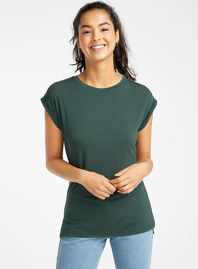 Long cap-sleeve tee - Short Sleeves & ¾ Sleeves - Mossy Green