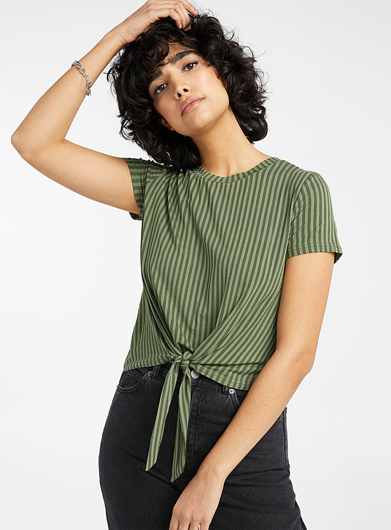 Twik Khaki Striped tie tee for women