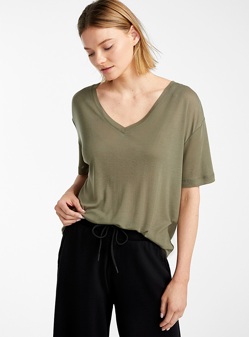 Miiyu Khaki Light lyocell V-neck tee for women