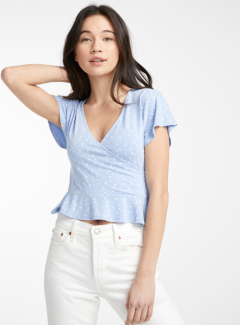 Twik Baby Blue Peplum crossover tee for women