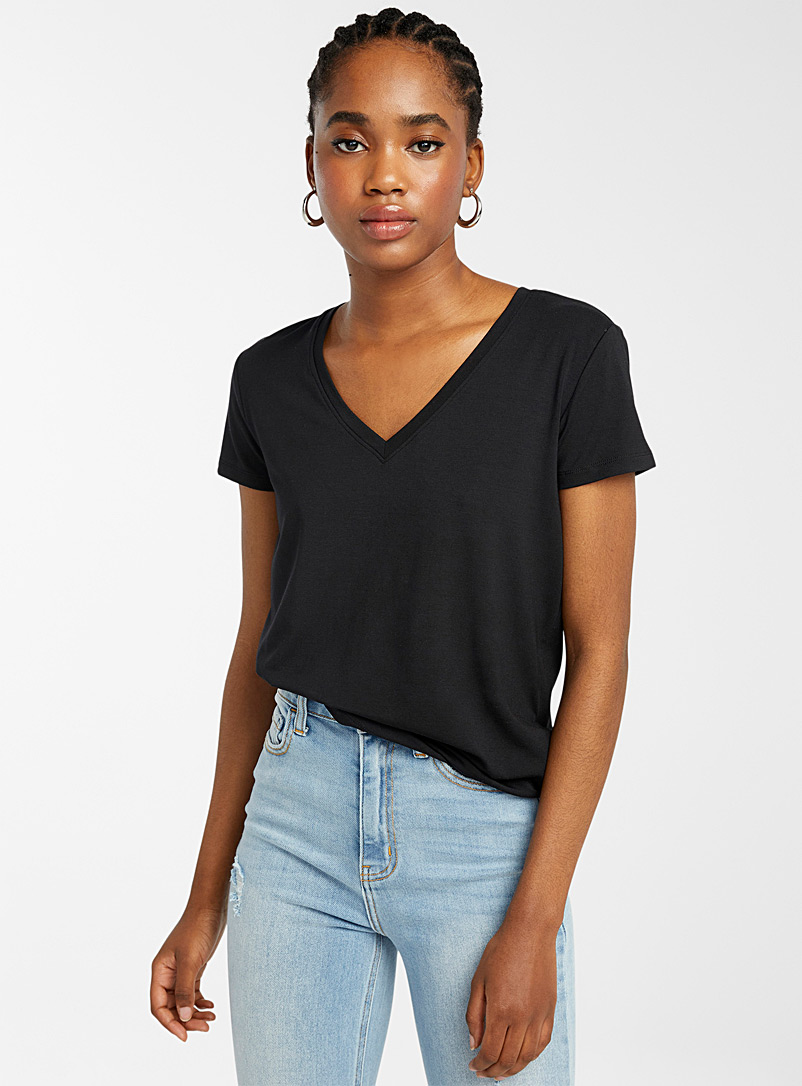 Twik Black Cotton-modal V-neck tee for women