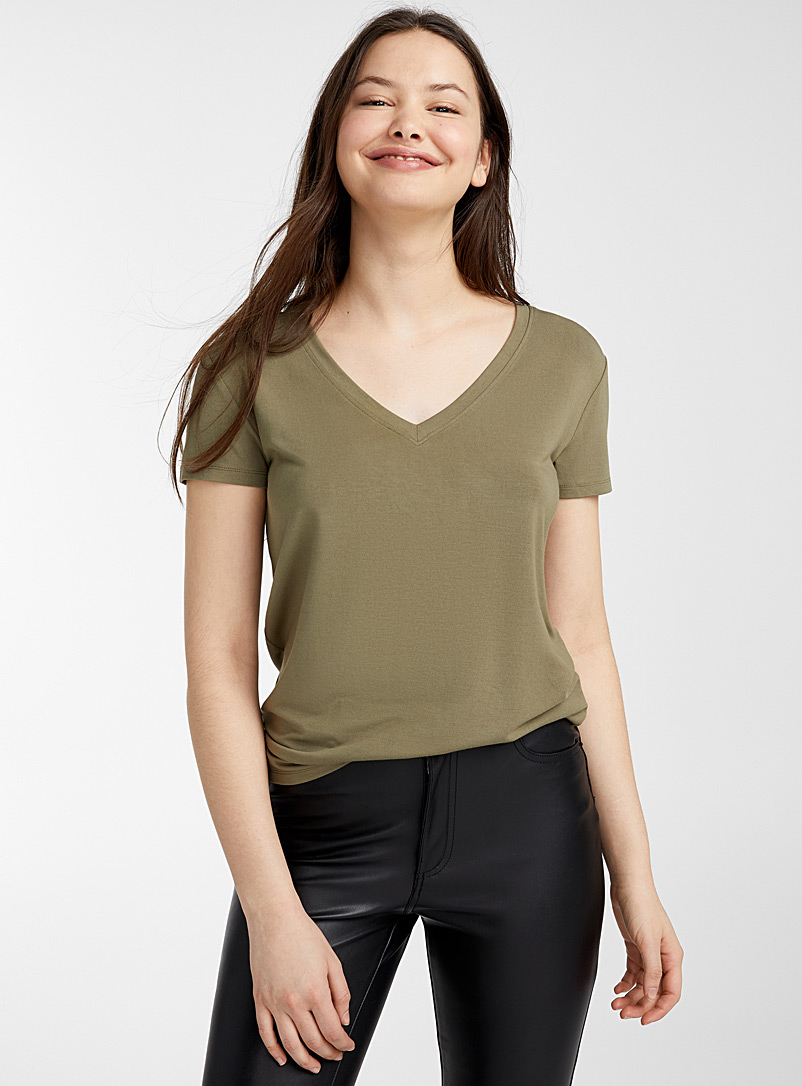 Twik Khaki Cotton-modal V-neck tee for women